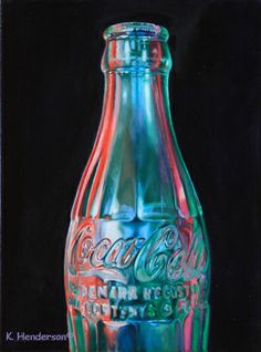 Rainbow Coke, 12 x 9, oil on canvas   I painted this vintage coke bottle so it would reflect the ambient colors of its surroundings.  Available  See more of my Contemporary realism paintings on my Blog http://khendersonart.blogspot.com/