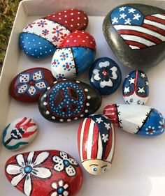 July Independence Day painting rocks