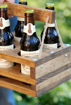 Cool Wooden 6 Pack Holder This is it. Soon as I saw this I knew I had to make one similar to it. Have have not made mine yet. This picture came from Pinterest and I believe they are on Etsy for ...