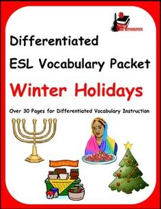 Free download - Winter holidays vocabulary packet that covers Christmas, Kwanza, Hanukkah and Diwali.