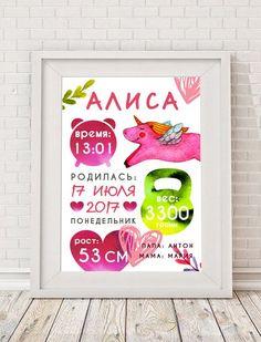 Метрика для новорожденных. Детский акварельный постер. Интерьер детской.