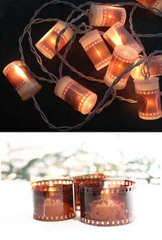 #DIY fotográfico de la semana: #Guirnalda de luces y Mini #Candelabros con negativos viejos. Siguenos en Facebook:   https://www.facebook.com/pages/Foto-Isaac/184203938321826?ref=hl