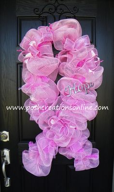 Breast Cancer Awareness Wreath! Available at www.etsy.com shop name Poshcreationsky     Thanks! :) great job Rendy Gail.