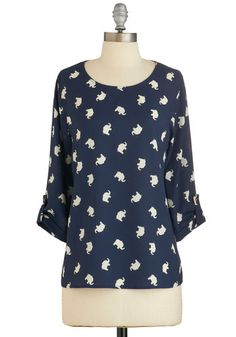 Zoom Bisou Top in Navy Elephants | Mod Retro Vintage Short Sleeve Shirts | ModCloth.com