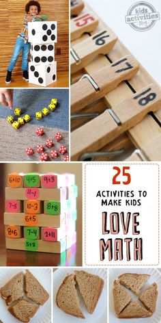 25 math activities for kids! Fun ways to encourage math skills while playing by using board games, food and crafts!