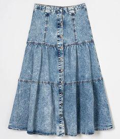 Saia Midi Jeans com Botões Frontais e Babados Azul All Jeans, Fashion, Denim Button Up, Front Button, Ruffles, Jacket, Women's, Templates, Moda