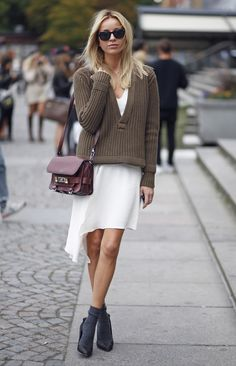 What?  Dress is too summery for the weight of the sweater.  And shoes should be replaced with booties.
