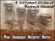 REDNECK WINE GLASSES or Champagne Margarita by PamsPolkaDots