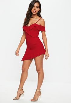 Missguided - Red Cold Shoulder Tea Dress