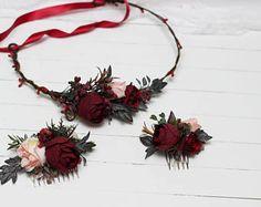 Burgundy pink beige floral accessories Flower crown Bridal Bridesmaid headpiece Burgundy wedding Floral comb Wedding hair wreath Flower comb