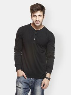 "PRODUCT DETAILS Black knit T-shirt, Henley neckline, long sleeves, short button placket at the chest, vented hem MATERIAL & CARE 100% cotton Machine wash cold SIZE & FIT The model (height 6' and shoulders 18"") is wearing a size M"