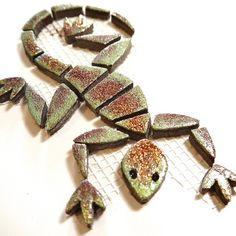 Mosaiksteine - Mosaic tiles - eidechse - lizard - Glittereffekt - klein/small -mintgrün von MotivMosaics auf Etsy