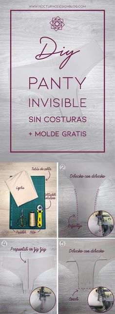 DIY: Panty invisible en 10 minutos + molde gratis – Nocturno Design Blog Design Blog, Diy Crafts To Sell, Diy Clothes, Lingerie, Cricut, Place Card Holders, Sewing, Projects, How To Make