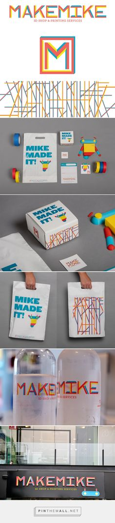Branding, graphic design and packaging for MAKE MIKE ® 3D Shop & Printing Services on Behance by Analog Agency San Pedro, Mexico curated by Packaging Diva PD.  Clever branding campaign.