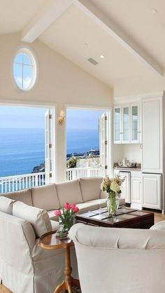 We Home Design — Beach house sitting room with a balcony and an. Home Design, Interior Design, Modern Interior, Coastal Living Rooms, Coastal Homes, Beach Homes, Coastal Cottage, Coastal Style, Coastal Decor