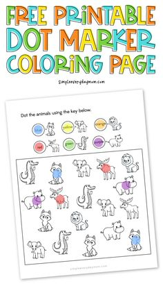 Download this free printable do a dot marker coloring page! It's great for toddlers, preschoolers and kindergarten children. #simpleeverydaymom #dotmarkers #dotadot #toddleractivities #preschool #preschoolers #kindergarten Animal Activities For Kids, Pre K Activities, Educational Activities For Kids, Do A Dot, Printable Letters, Dry Erase Markers, Working With Children, Free Printables, Coloring Pages