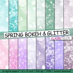 """Spring digital paper: """"SPRING BOKEH""""  photo backdrop / spring glitter / spring bokeh / spring sparkles backgrounds in green, pink, purple by ClaireTALE on Etsy"""