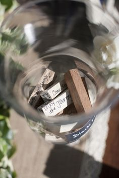 Jenga Guestbook. Such a cute idea! Everytime you play a game you'll think of your special day!