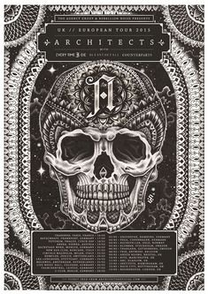 Skull Tour poster for Architects band 2015 UK, Europe tour. What a line up.