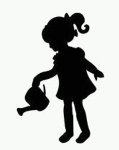 Girl with watering can Wedding Silhouette, Girl Silhouette, Silhouette Design, Newspaper Art, Crayon Art, Scan And Cut, Melting Crayons, Pencil Art Drawings, Diy Canvas Art