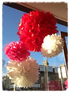 DIY flowers made for our Valentines window display! Simple, beautiful and effective!