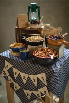 """Camping Birthday Party Love this """"trail mix bar"""". I'm going to use this idea for girls camp snacks. First Birthday Parties, Birthday Party Themes, First Birthdays, Nature Birthday Parties, Birthday Ideas, 10th Birthday, Camp Snacks, Camping Baby Showers, Lumberjack Party"""