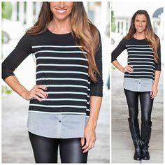 This top is blowin' up our Facebook page, we figured y'all would want a piece of the action too❤️ ➖➖➖➖➖➖➖➖➖➖➖➖➖➖➖➖➖ The Gigi 'layered look' top Price $29.00, Free Shipping Options: Small(2/4), Medium(6/8), Large(10/12) To purchase, comment SOLD SIZE EMAIL ➖➖➖➖➖➖➖➖➖➖➖➖➖➖➖➖➖ Oh but this top, #imean, really! A 3/4, black&white striped jersey top layered over chambray is so classic and fab! We love it with our liquid leather leggings or distressed jeans. And did we mention how amazing it is…