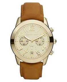 Michael Kors Watch, Women's Chronograph Luggage Brown Leather Strap 41mm MK2251