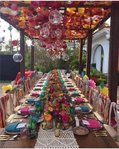 Best Garden Party With Amazing Decor For Teen 12 Mexican Fiesta Party, Mexican Dinner Party, Summer Party Decorations, Mexican Wedding Decorations, Mexican Weddings, Party Decoration Ideas, Bohemian Party Decorations, Colorful Wedding Centerpieces, Colorful Weddings
