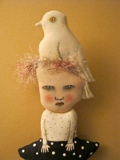 strange art doll-- cute- creepy doll- strange doll- bird head- black and white - dove like bird- white bird