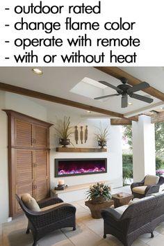 Amantii 50″ wide x 6″ deep Built-in Outdoor Electric Fireplace (BI-50- - Modern Blaze