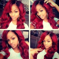 """Heat Resistant Two Tone Red Synthetic Lace Front Wig With Black Roots 150%-180% Density 24"""" Ombre Red Kanekalon Hair Lace Wavy Wig"""