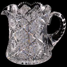"Wavebid - May 27, 2017 - Item # 301 - Pitcher - 7.5"" X 6.5"" Diameter - ABCG Antique Glass Bottles, Antique Glassware, Crystal Glassware, Glass Pitchers, Crystal Decor, Glass Dishes, Glass Water Jug, Glass Vase, Crystal Holder"