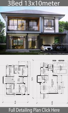 Home design Plan with 3 bedrooms. Wide front Modern Contemporary style Designed to be airy with horizontal lines Modern style. 2 Storey House Design, House Front Design, Modern House Design, Sims House Plans, Small House Plans, New House Plans, Mediterranean Homes Exterior, Exterior Homes, Mediterranean Style