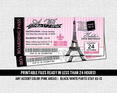 PARIS BOARDING PASS Invitations Thank You Card por nowanorris