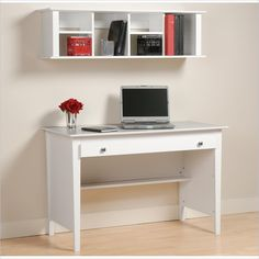 Prepac Desk and Hutch Set in White - WWD-4730-WHD-1348-PKG - Lowest price online on all Prepac Desk and Hutch Set in White - WWD-4730-WHD-1348-PKG