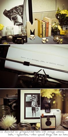 love the typewriter idea :) another way for guests to leave notes and memos than a guest book