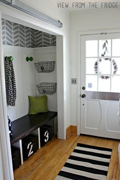 Diy Closet Remodel Black And White Entry Perfect Storage Bench With Rolling Bins Front