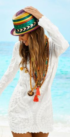 Summer 2015 Fashion Looks - Water Lilly White Jane Dress Boho Style and Hat.
