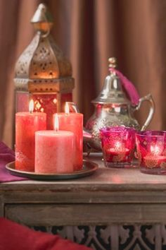 Middle Eastern decoration: candles, windlights, lantern, teapot  - stock photo
