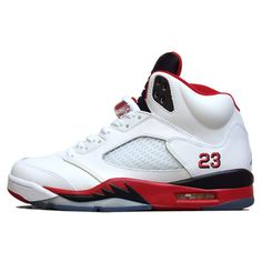 AIR JORDAN 5 FIRE RED (BLACK TONGUE) Sneaker Freaker ❤ liked on Polyvore featuring shoes, sneakers and jordans