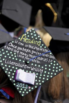 Literary mortar board created by an unknown graduate at California State University San Marcos.