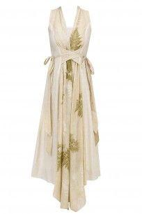Beige Botanical Hand Printed Overlap Dress #whimsicalbyshica #shopnow #prints #ppus #happyshopping