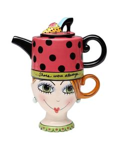"""Appletree Design Lady Lux Tea for One Set, Teapot Rests on Top of Tea Cup, 8"""" #AppletreeDesign"""