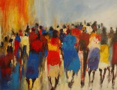 """Charles Nkomo 'Busy Day' * """"This painting is all about payday. In the city, everyone is running up and down, trying to get food and stuff for their kids. Town on payday is busy and crowded."""" With customary confidence, Charles' colourful and vibrant painting brings modern Africa to life. His work is such a fresh and vivid recreation of contemporary African life, and a mile away from tired touristic renditions of rural ladies with pots on their heads. Everything about Charles' work demands…"""