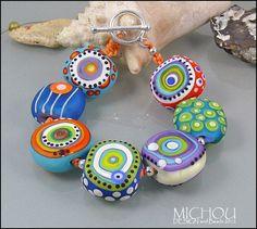Bright Lights Nr 2 Lampwork glass bead Bracelet by MichouJewelry, $209.00