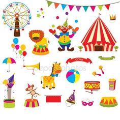 Verzameling van Cute Circus — Stockillustratie #59096425