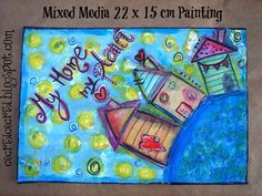 """My Home, My Planet"" Painting    arte, mixed media, quadretto, mixed media painting, topogina, http://cecrisicecrisi-shop.blogspot.it/"