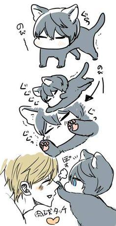 Drawn by uto00rog ... Free! - Iwatobi Swim Club, haruka nanase, haru nanase, haru, nanase, haruka, makoto tachibana, makoto, tachibana, free!, iwatobi, cat, neko