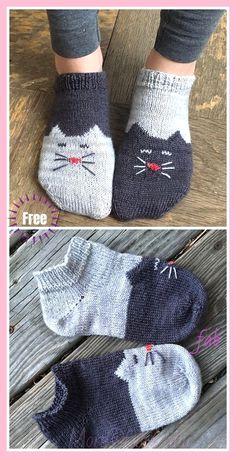 Neuen : Ying Yang Kitty Cat Sokken breien Gratis breipatroon , #breien #breipatroon #gratis #kitty #sokken